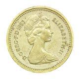 Английская язык одна монетка фунта 1983 Стоковое фото RF