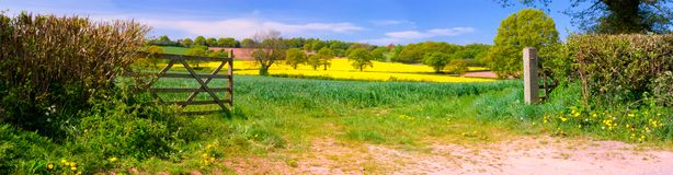 английская язык fields панорама Стоковое Изображение RF