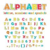 Английские алфавит, номера и символы цвета стоковые изображения