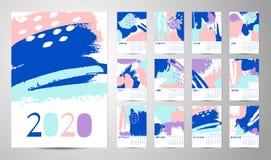 Английский вектор конспекта календаря 2020 иллюстрация штока