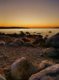 Английский заход солнца залива стоковые фотографии rf