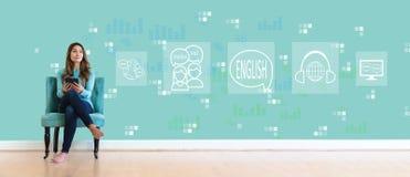 Английский язык с молодой женщиной стоковая фотография rf