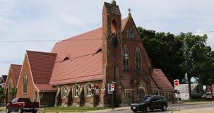 Англиканская церковь троицы в Simcoe, Онтарио, Канаде 4K акции видеоматериалы