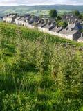 Англия: каменные дома террасы с полем Стоковые Фото