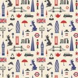 Англия, Лондон, Великобритания Безшовная предпосылка иллюстрация вектора