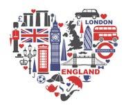 Англия, Лондон, Великобритания Собрание плоских значков в форме сердца иллюстрация штока