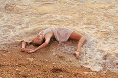 английскийрусскийукраинский Mermaid girl. Mermaid girl on the beach Royalty Free Stock Image