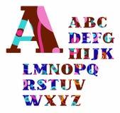 Английский алфавит, конспект, круги, красочные, шрифт вектора Стоковое Изображение