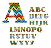 Английский алфавит, красочный зигзаг, вектор Стоковые Изображения RF