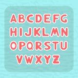 Английский алфавит с округлой формой писем в форме стикеров ребенка Стоковые Изображения RF