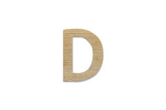 Английский алфавит d сделанный от изолированной древесины на белой предпосылке Стоковая Фотография