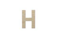 Английский алфавит h сделанный от изолированной древесины на белой предпосылке Стоковая Фотография