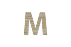 Английский алфавит m сделанный от изолированной древесины на белой предпосылке Стоковые Изображения