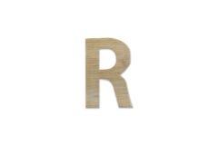 Английский алфавит r сделанный от изолированной древесины на белой предпосылке Стоковое Изображение RF