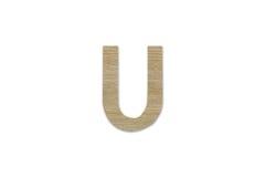 Английский алфавит u сделанный от изолированной древесины на белой предпосылке Стоковое фото RF