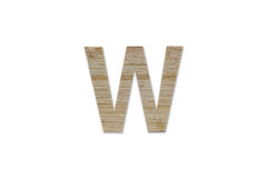 Английский алфавит w сделанный от изолированной древесины на белой предпосылке Стоковые Фото