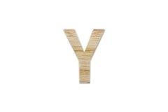 Английский алфавит y сделанный от изолированной древесины на белой предпосылке Стоковая Фотография RF