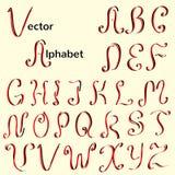 Английский винтажный каллиграфический алфавит Стоковая Фотография