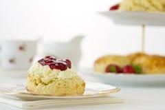 Английский корнуольский cream чай, горизонтальный Стоковая Фотография RF
