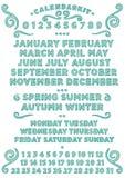 Английский язык набора календаря стоковое изображение