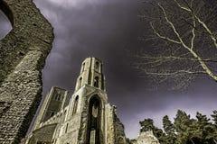 Английское аббатство включая руины Стоковые Фото
