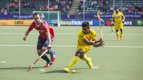 Англия бьет Индию на хоккее 2014 кубка мира Стоковое Изображение