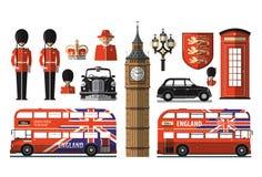Англия, Лондон, Великобритания установленные иконы Стоковые Изображения RF