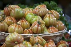Англия, Лондон, Southwark, рынок города, Vegetable стойл, дисплей томата Стоковая Фотография