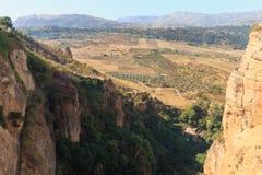 Андалузские ландшафты около Ronda, Испании на сезоне лета стоковое фото