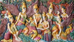 Анджел, древесина высекая в тайском виске Стоковые Изображения