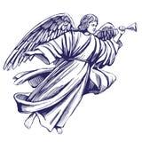Анджел летает и играет труба, религиозный символ эскиза иллюстрации вектора христианства нарисованного рукой иллюстрация штока