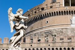 Анджел на известном мосте Sant Angelo, Рим Стоковое Изображение RF
