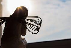 Анджел на подъеме окна и солнца стоковое изображение rf