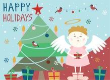 Анджел около рождественской елки с подарочной коробкой иллюстрация штока