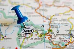 Андорра на карте стоковая фотография rf