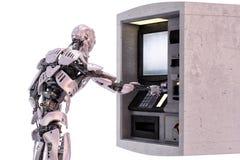 Андроид робота используя разведение банковского автомата за наличные иллюстрация 3d стоковые изображения