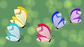 Анимация бабочки Пестротканые бабочки завиша на зеленой предпосылке с bokeh освещают Красивое thema весны иллюстрация штока