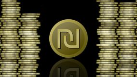 Анимация валюты, монетка израильского шекеля символическая появляясь, отражая и исчезая, золотые столбцы монеток, видео дальше иллюстрация штока