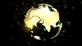 Анимация вращая глобуса земли Стоковые Изображения RF