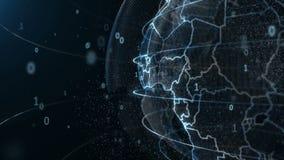 Анимация глобуса вращаясь вокруг частиц и цифровых plexuses иллюстрация вектора
