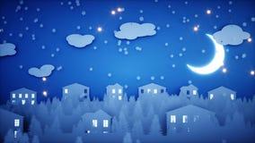 Анимация зимы бумажная плоская Счастливая предпосылка Нового Года и xmas снежности Реалистическая анимация 4K иллюстрация вектора