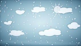 Анимация зимы бумажная плоская Счастливая предпосылка Нового Года и xmas снежности Реалистическая анимация 4K иллюстрация штока