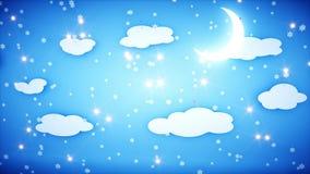 Анимация зимы бумажная плоская Счастливая предпосылка Нового Года и xmas снежности Реалистическая анимация 4K бесплатная иллюстрация