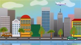 Анимация камеры плоского типа графического города с современными зданиями сток-видео