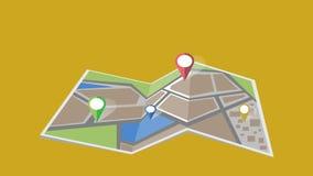 Анимация карты города видеоматериал