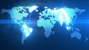 Анимация карты мира цифров иллюстрация вектора