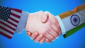 Анимация концепции Соединенных Штатов - Индии/рукопожатия о странах и политике/с штейновым каналом сток-видео