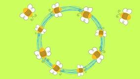 Анимация круга пчел летания loopable сток-видео