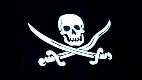 Анимация крупного плана флага пирата Веселый Роджер традиционное английское имя для флагов, который летели для того чтобы определ иллюстрация вектора