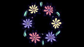 Анимация механизма прерывного действия с круглым флористическим венком, растя природой с каналом альфы штейновым, зацветая ботани иллюстрация штока